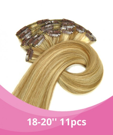 18''-20'' GBB Clip-on Extensions -100% Remy Hair - 11PCS